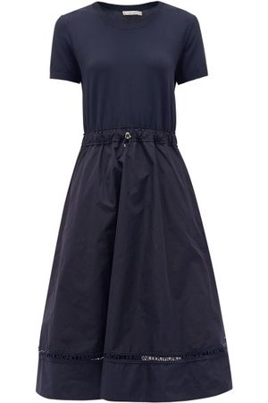 Moncler Women Dresses - Logo-embroidered Shell And Crepe Dress - Womens - Navy