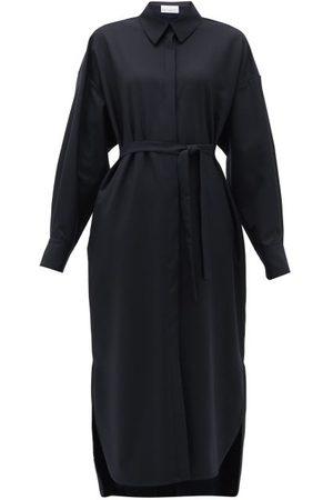 Raey Women Casual Dresses - Oversized Curved-hem Wool Shirt Dress - Womens - Navy