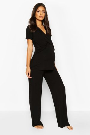 Boohoo Womens Maternity Wrap Front Nursing Pj Pants Set - - 4