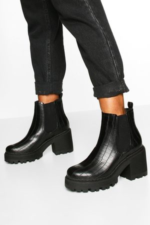 Boohoo Womens Wide Fit Chunky Chelsea Boots - - 5