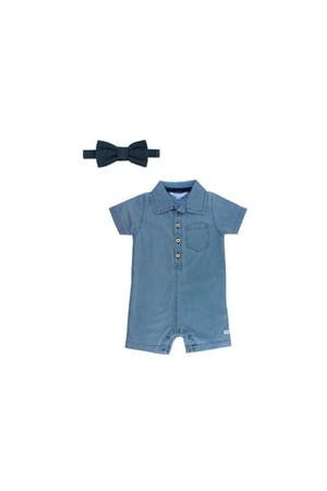 RUGGEDBUTTS Infant Boy's Chambray Romper & Bow Tie Set