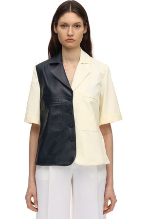 Rokh Cotton Canvas & Leather Shirt