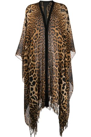 Saint Laurent Fringed leopard-print poncho