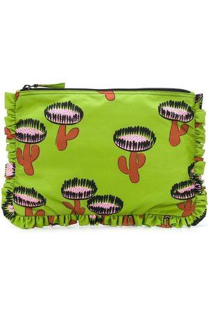 La DoubleJ Cactus print ruffled clutch bag