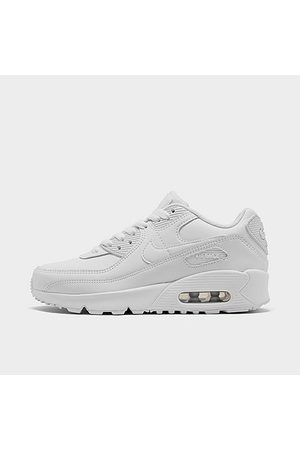 Nike Boys' Big Kids' Air Max 90 Casual Shoes in Grey Size 4.0 Leather