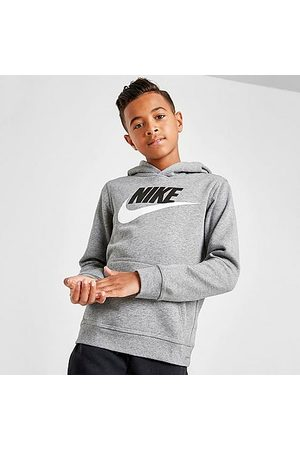 Nike Boys Hoodies - Boys' Sportswear HBR Club Fleece Hoodie in Grey Size X-Large Cotton/Polyester/Fleece