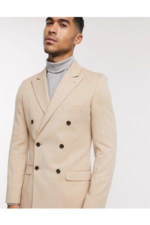ASOS Super skinny double breasted blazer in camel oxford