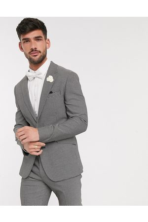 ASOS Wedding skinny suit jacket in and white micro texture