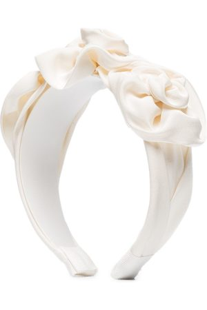 Jennifer Behr Triple Rosette silk faille headband