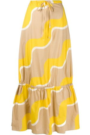 Chinti And Parker Flared wave-print skirt - Neutrals