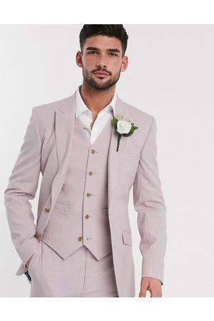 ASOS Wedding skinny suit jacket in crosshatch in rose