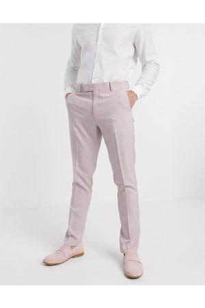 ASOS Wedding skinny suit pants in crosshatch in rose