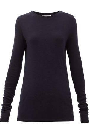 Raey Women Long Sleeve - Long-sleeved Organic-wool T-shirt - Womens - Navy