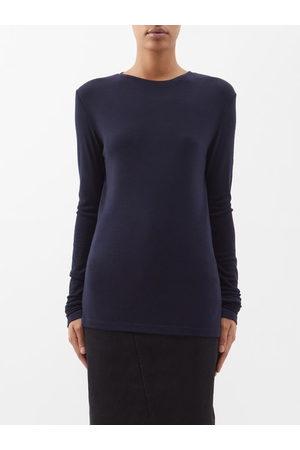 Women Long Sleeve - Raey - Long-sleeved Organic-wool T-shirt - Womens - Navy