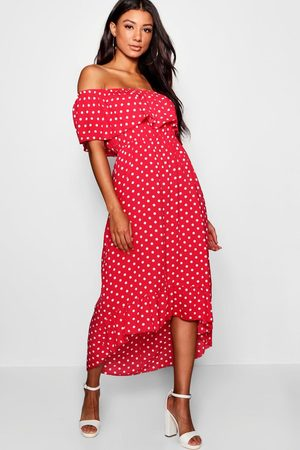 Boohoo Womens Woven Polka Dot Print Off The Shoulder Maxi Dress - - 4