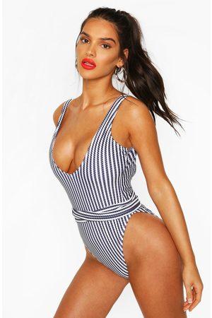 Boohoo Womens Nautical Rope Tie Waist Bathing Suit - - 4