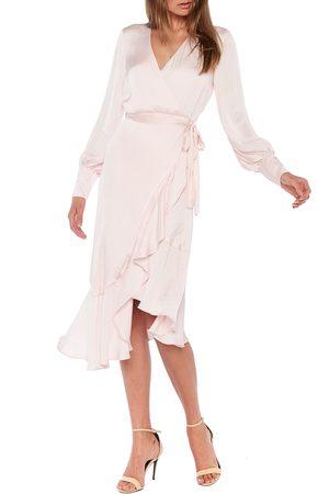 Bardot Women's Sofie Asymmetrical Long Sleeve Faux Wrap Dress