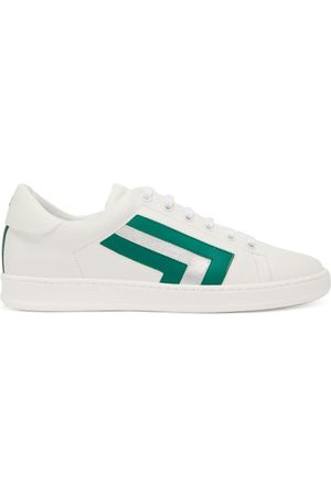 VALEXTRA Super 3 Striped Leather Trainers - Womens