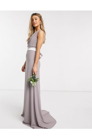 TFNC Bridesmaid cowl neck bow back maxi dress in