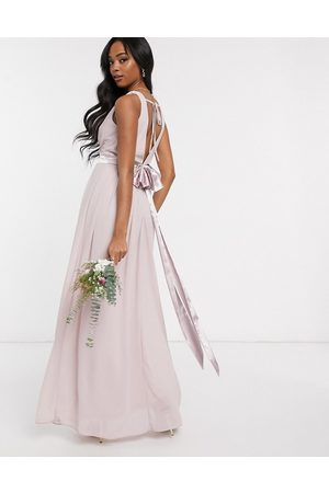 TFNC Bridesmaid wrap front bow back maxi dress in