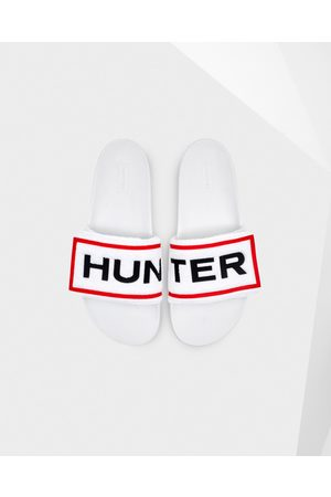 Hunter Women's Original Terry Towelling Logo Adjustable Slides