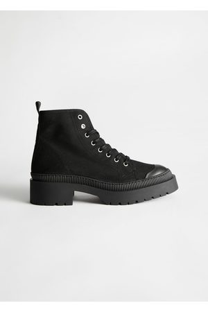 & OTHER STORIES Chunky Canvas Lace Up Boots