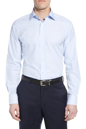 David Donahue Men's Luxury Non-Iron Trim Fit Stripe Dress Shirt