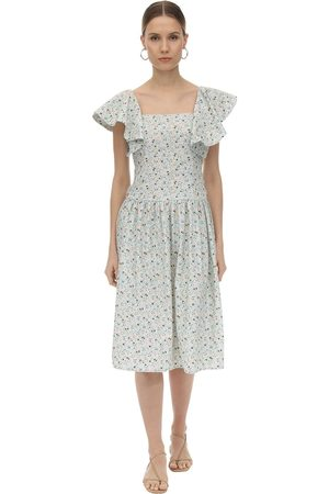 BATSHEVA Printed Cotton Midi Dress W/ Back Bow