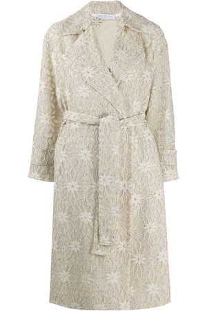 Harris Wharf London Floral embroidered trench coat - Neutrals