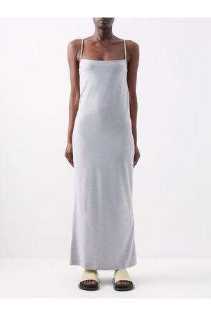 Raey Square-neck Cotton-blend Jersey Slip Dress - Womens - Grey Marl
