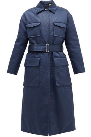 Moncler Marigold Belted Quilted Cotton-blend Satin Coat - Womens - Navy