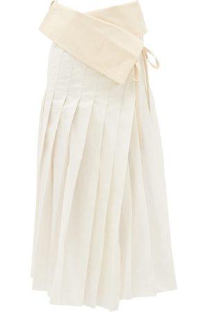 Moncler 1952 - Asymmetric Pleated Cotton-blend Taffeta Skirt - Womens - Multi