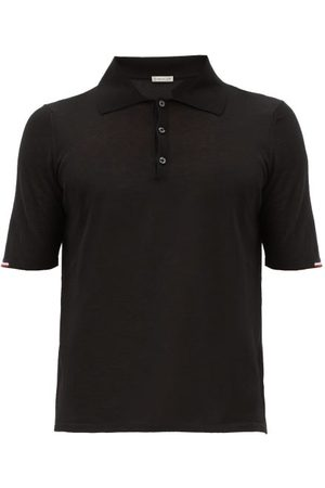 Moncler Tricolour-trim Cotton-jersey Knitted Polo Shirt - Mens