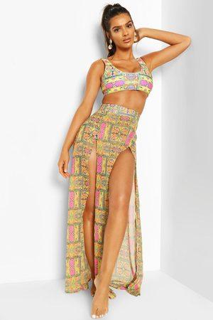 Boohoo Womens Tropical Tile Print Split Leg Maxi Beach Skirt - - 4