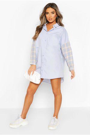 Boohoo Womens Petite Contrast Flannel Shirt Dress - - 2