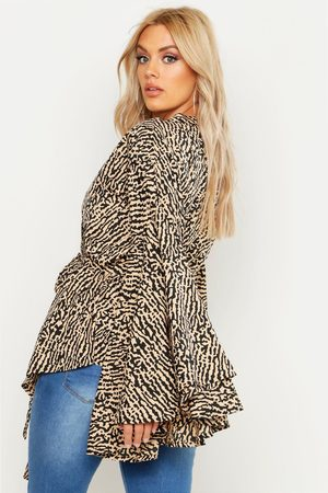 Boohoo Womens Plus Printed Extreme Sleeve Wrap Top - - 12