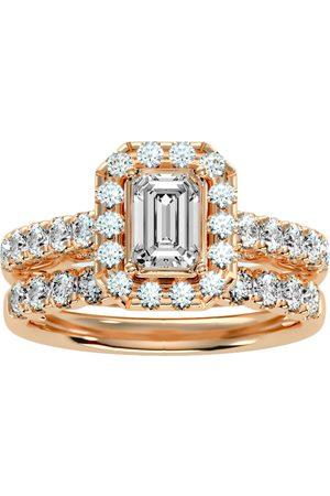 SuperJeweler Women Rings - 2.5 Carat Emerald Cut Halo Diamond Bridal Ring Set in 14K (6.50 g) (