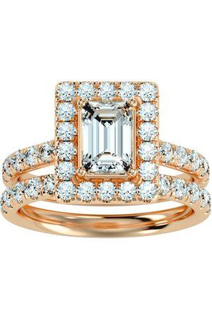 SuperJeweler Women Rings - 3 Carat Emerald Cut Halo Diamond Bridal Ring Set in 14K (7 g) (