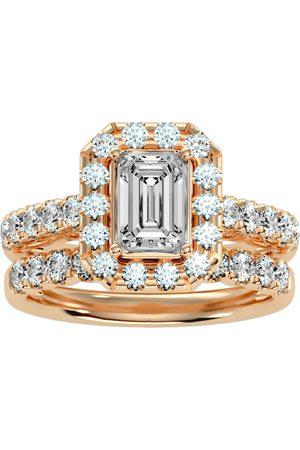 SuperJeweler 3 Carat Emerald Cut Halo Diamond Bridal Ring Set in 14K (7 g) (
