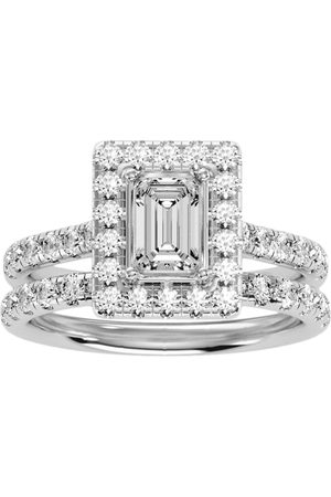 SuperJeweler 2.5 Carat Emerald Cut Halo Diamond Bridal Ring Set in 14K (6.30 g) (