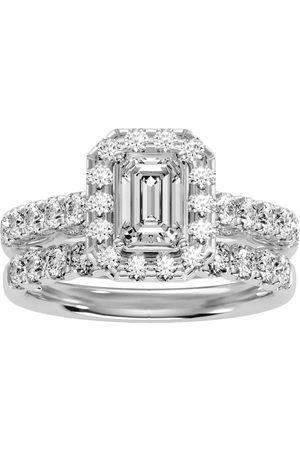SuperJeweler 2.5 Carat Emerald Cut Halo Diamond Bridal Ring Set in 14K (6.50 g) (