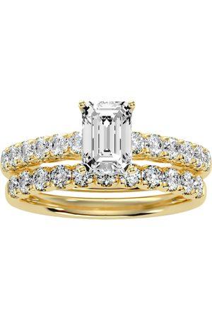 SuperJeweler 3 Carat Emerald Cut Bridal Ring Set in 14K (6 g) (