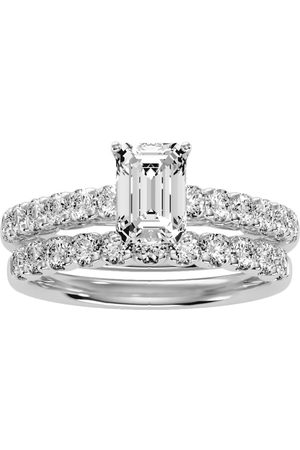 SuperJeweler Women Rings - 2 Carat Emerald Cut Diamond Bridal Ring Set in 14K (5 g) (