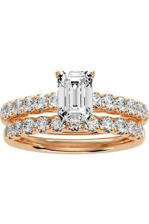 SuperJeweler 2 Carat Emerald Cut Diamond Bridal Ring Set in 14K (5 g) (