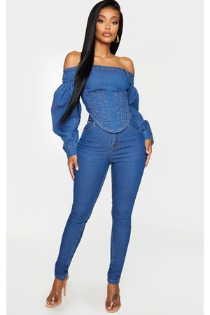 PRETTYLITTLETHING Shape Mid Wash High Waist Skinny Jeans