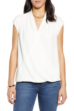 Halogen Women's Halogen Layered Wrap Front Top