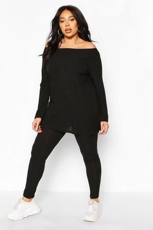 Boohoo Womens Plus Rib Off The Shoulder Legging Lounge Set - - 18