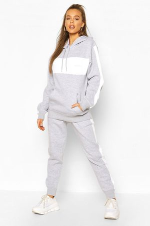 Boohoo Womens Woman Embroidered Colour Block Stripe Tracksuit - - 4
