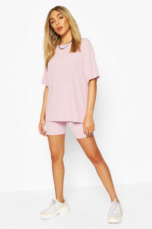 Boohoo Womens Oversized T-Shirt & Cycling Short Co-Ord Set - - 2