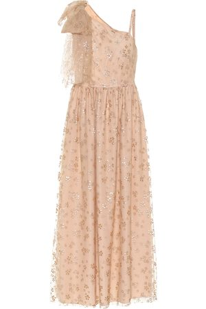 RED Valentino Embellished tulle one-shoulder gown